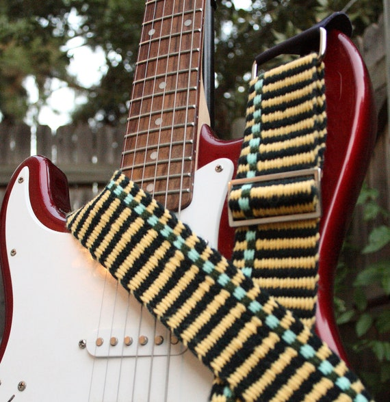 Woven Guitar Strap - Adjustable - Yellow Stripes