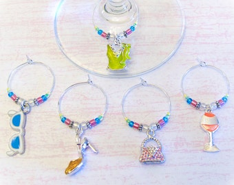 Women's Accessories Wine Charms - Set of 5 Silver Enamel Fashion Wine Glass Charms