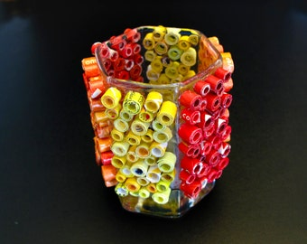 Votive Candle Holder - Red, Orange & Yellow Candle Holder Made with Recycled Magazines