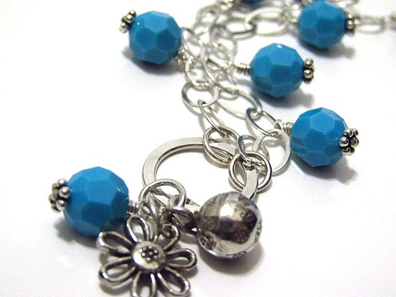 RESERVED - Wine Bottle Necklace in Turquoise and Sterling Silver