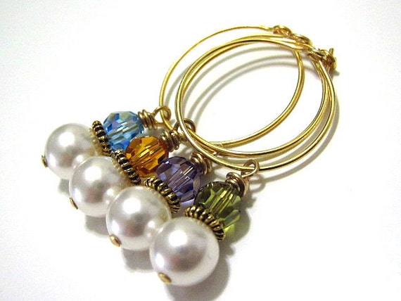 Wine Charms / Wine Markers in 24kt Vermeil with Pearls and Crystals Drink IDs Party Favors