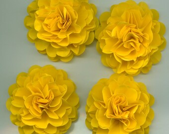 Bright Yellow Carnation Paper Flowers Embellishments