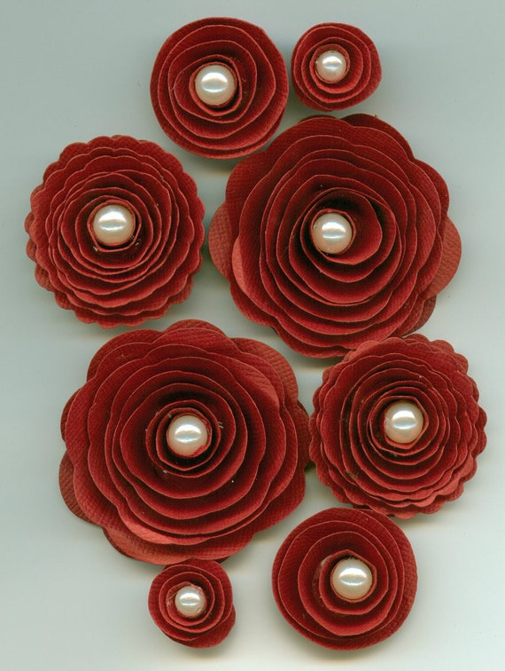 Red Rose Handmade Spiral Paper Flowers With White Pearls