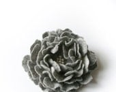 flower brooch   GREY  / flower pin / made to order /