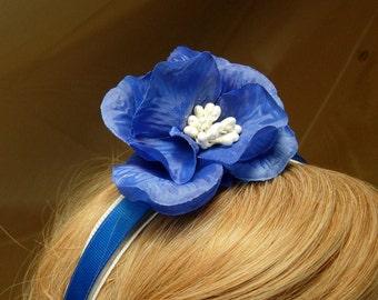 blue bridal flower headband,Spring flower fascinator,Summer flower fascinator, Bridal Hair Accsccory,,costume fascinator