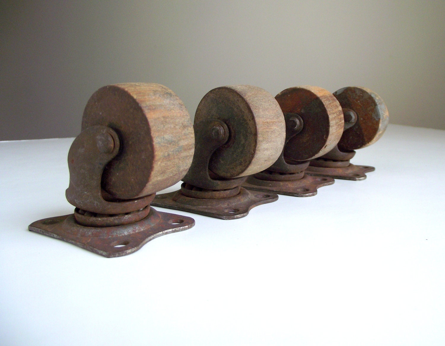 Wood Caster Wheels With Metal Mounting Plates Set Of 4