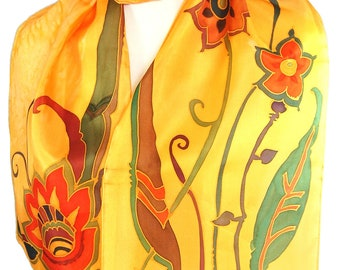 Love is The Honey Silk Scarf Hand Painted With Flower on Golden Yellow