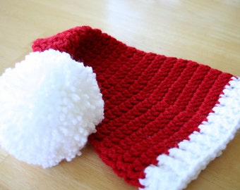 Kids Santa Hat, boy or girl crochet holiday hat, Christmas hat, red with white, 5T to Preteen, photo prop