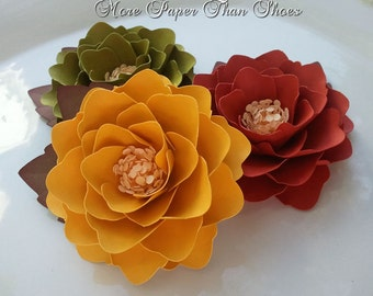 Paper Flowers - Party Favors - Elizabeth Rose - Fall Colors - Weddings - Set of 25