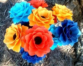 Paper Flowers - Weddings - Home Decor - Birthdays - Mixed Colors -Blue and Orange - Made To Order - Set of 48
