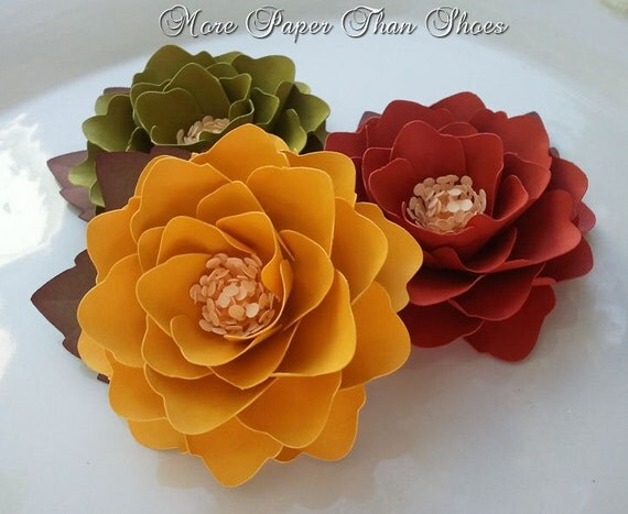 Paper Flowers - Party Favors - Elizabeth Rose - Fall Colors - Weddings - Set of 25