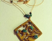 Wood Pendant Necklace / Wire wrapped with turquoise