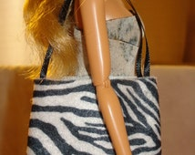 Black & white Zebra print tote bag purse for Fashion Dolls - bap11