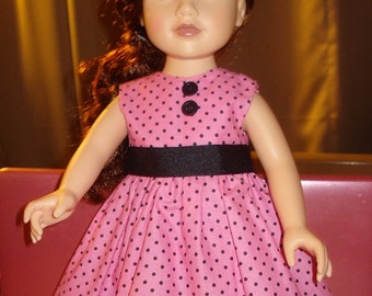 Pink & black polka dot full sleeveless dress for 18 inch Dolls - ag81