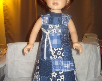Blue patchwork a-line Maxi dress and headband for 18 inch Dolls - ag168
