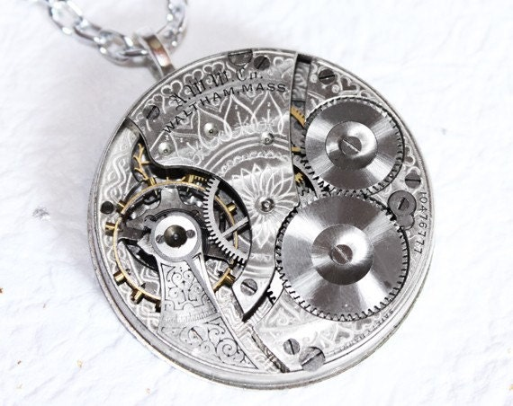 Steampunk Necklace -Unbelievably Stunning 109 yrs old GUILLOCHE ETCHED Spade WALTHAM Antique Pocket Watch Movement Silver Steampunk Necklace