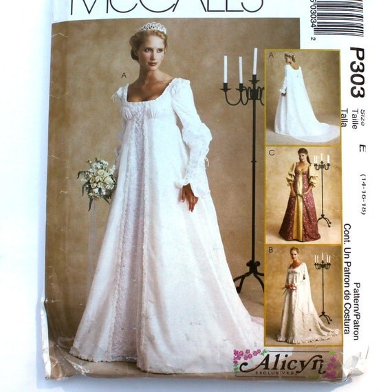 Renaissance Bridal Gown Sewing Pattern, Princess Dress, Medieval Costume, Empire Waist, Bodice Overskirt, McCalls P303, Size 14 16 18