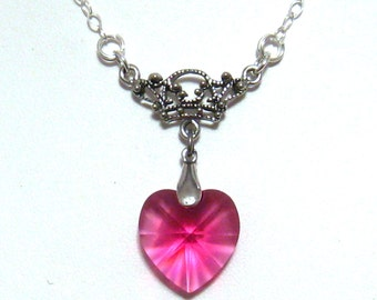 Fuchsia Crystal Necklace Heart Bridesmaids Jewelry Begonia Romantic Victorian Swarovski Hot Pink Crystal Heart Necklace Prom Wedding Jewelry