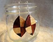 Wood Earrings, Eco-Friendly Dangle Leaves, Cocobolo Wood