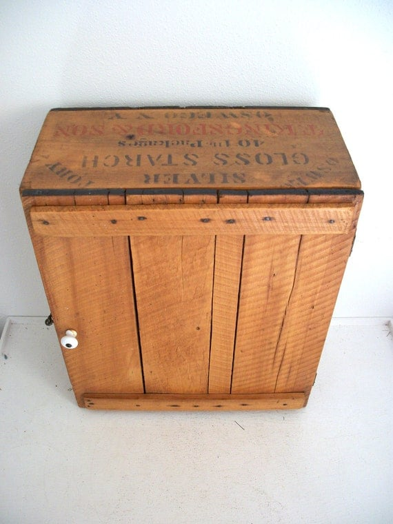 Antique Wood Cabinet Made from T. Kingsford & Sons Crates