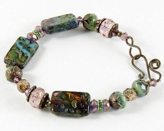 Green Pink Blue Antique Brass Bracelet Glass Beads