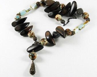 Blue Brown Wood Glass  Ceramic Beads Vintaj Brass Necklace