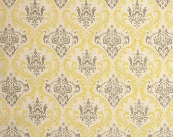 """Pillow Cover Damask, Toss Pillow,  Gray, Grey, Yellow,  Natural 18""""x18"""""""