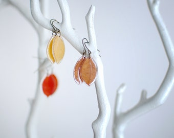 pressed leaf earrings real leaf jewelry pressed leaves nature lover gift, gift under 30 Fall jewelry