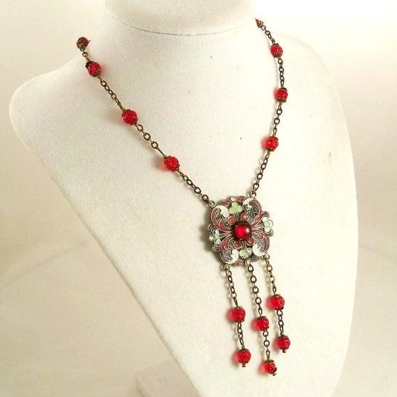 Vintage 1920s Art Deco Necklace Czech Glass Red Green Enamel
