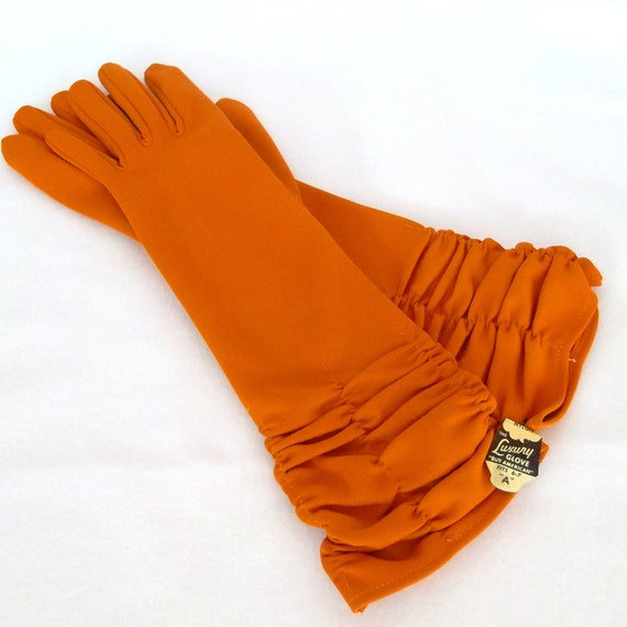 RESERVED Vintage Pumpkin Orange Gloves Long New Unused Size Medium