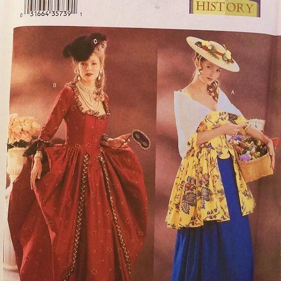 18th Century Dress Pattern Butterick 3640 Uncut Size 18 20 22