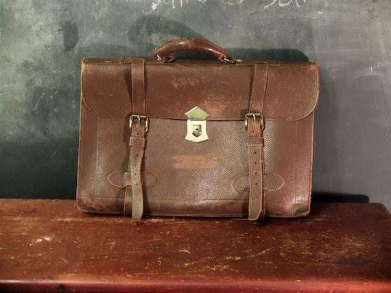 Vintage Leather Satchel Aviator S Briefcase U S Army