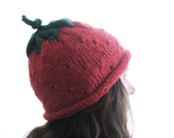 Adult Strawberry - Soft Hand Knit - Made to Order