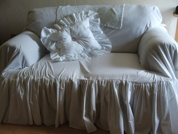 items similar to shabby chic couch slipcover throw on etsy. Black Bedroom Furniture Sets. Home Design Ideas