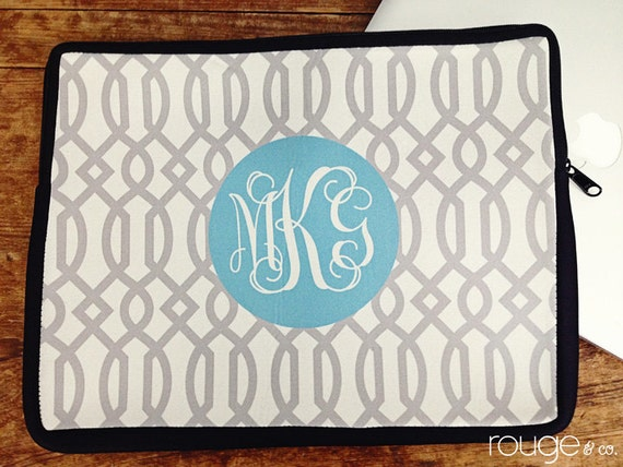 """personalized laptop sleeve 13"""" or 15"""" in TRELLIS REV - monogram - NEW elastic tabs give you the option to keep the sleeve on while you work"""