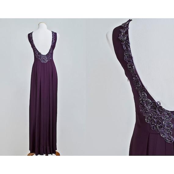 1990s Beaded Evening Gown / 90s Plum Purple Full Length Formal Dress / Jessica McClintock / SALE