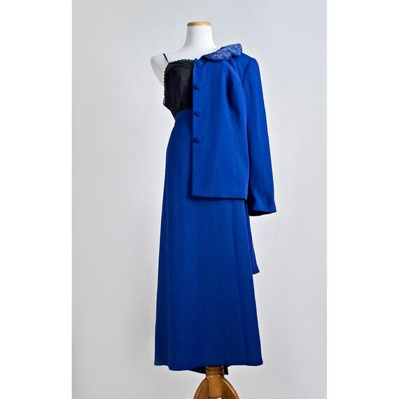 Vintage Royal Blue Sequin Suit / 1980s Crepe Blazer and Full Length Skirt / Plus Size / SALE