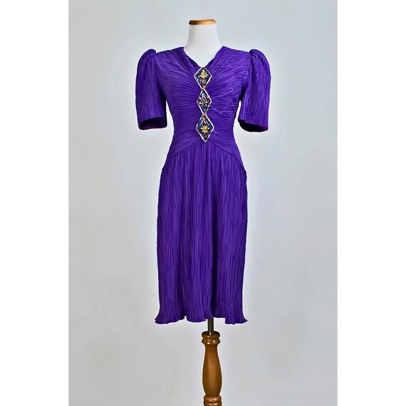 Vintage Beaded Sequin Party Dress / 1980s Purple Pleated Cocktail Dress / SALE