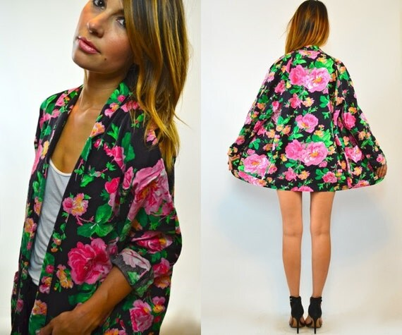 cheerful ROSE cluster GRUNGE revival blazer JACKET, extra small - small