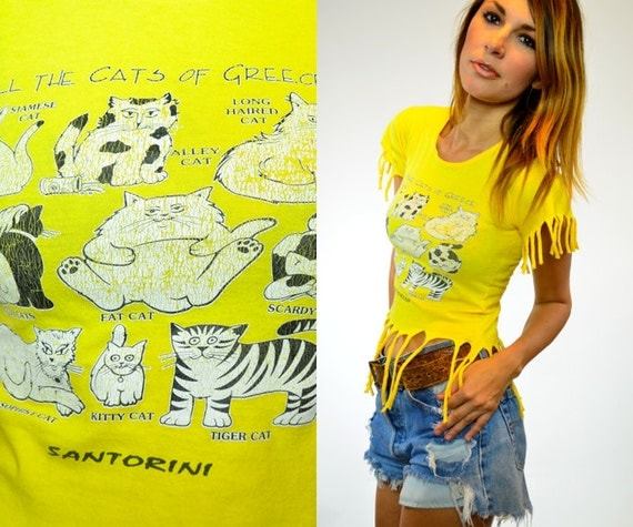 canary yellow novelty CATS OF GREECE print cropped fringed top, extra small