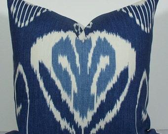 KRAVET - Decorative Pillow Cover - IKAT - BOTH sides or front only - indigo - blue - winter white-Bansuri Iris-linen-navy-accent pillow
