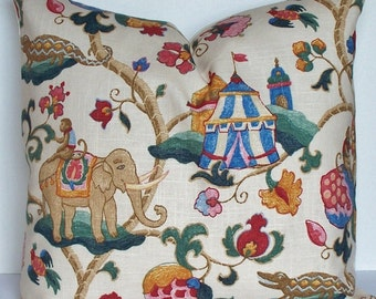 SUZANI circus monkey elephant linen EURO SHAM Decorative pillow cover, designer throw pillow  teal  blue red pink Oriental Asian Whimsical