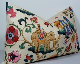 Lumbar circus monkey elephant Decorative pillow cover 14 x 24 suzani throw pillow