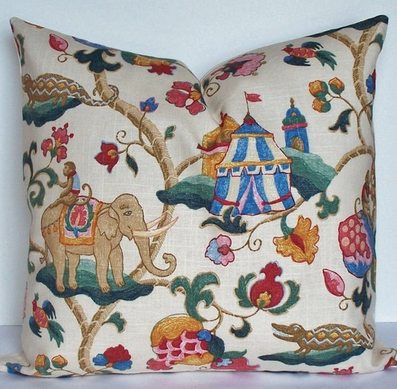 SUZANI circus monkey elephant linen Decorative pillow cover,  Euro sham designer throw pillow  teal  blue red pink