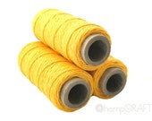 Hemp Twine, Yellow - Unpolished Sunshine Yellow Hemp Yarn, 1mm, 100ft Spool - HempCraft