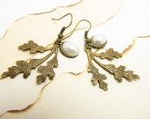 Brass Leaf Earrings, off white pearls, hook earrings, beautiful dangled leaf brass earnings.Great Gift.