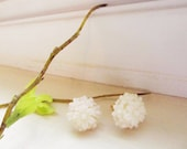 Beautiful White clustered resin Floral Stud Earrings -Flower Earring Post- Great gift for the holiday