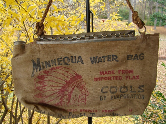 Vintage Car Minnequa Water Bag With Indian Chief By