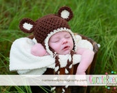 Baby Teddy Bear Earflap Hat crocheted classic - choose your color and your size, shown in Ivory and Brown