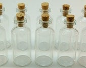 20 Mini Glass 10 ml Bottles with Corks- DIY Wedding & Shower Favors, Message in a Bottle, Pendants, Spices, Perfume, Samples, Collectibles